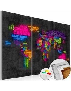 Tableau en liège MAPPA DEL MONDO - par Artgeist