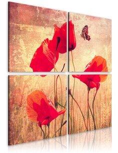 Tableau - 4 tableaux - Rétro, coquelicots et papillon - par Artgeist