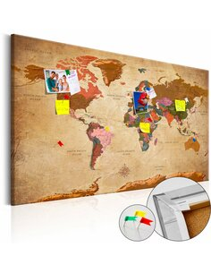 Tableau en liège WORLD MAP: BROWN ELEGANCE - par Artgeist