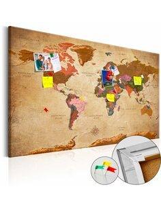 Tableau en liège WORLD MAP: BROWN ELEGANCE - par Artgeist