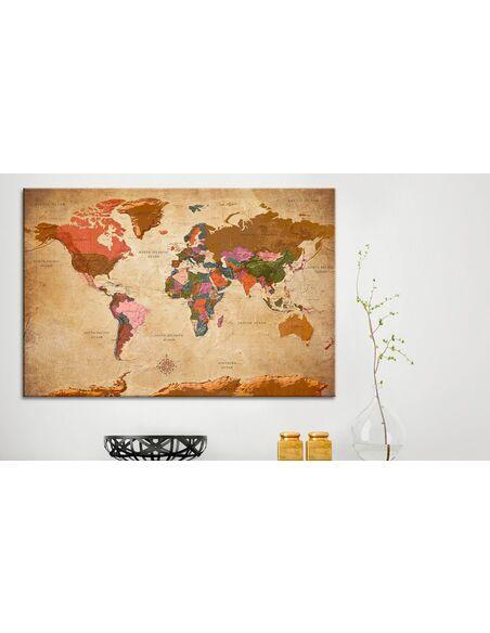 Carrollton World Elegance Cl: Tableau En Liège WORLD MAP: BROWN ELEGANCE