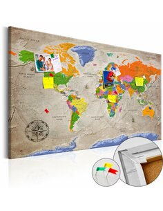 Tableau en liège WORLD MAP: RETRO STYLE - par Artgeist