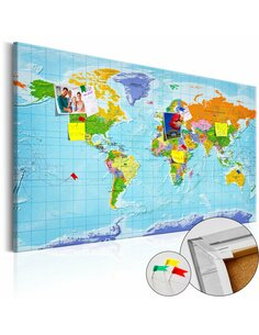 Tableau en liège WORLD MAP: COUNTRIES FLAGS - par Artgeist