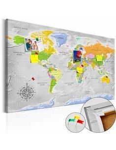 Tableau en liège WORLD MAP: WIND ROSE - par Artgeist