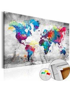 Tableau en liège WORLD MAP: GREY STYLE - par Artgeist