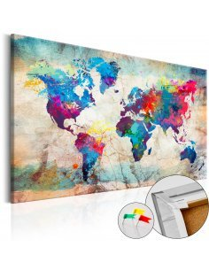 Tableau en liège WORLD MAP: COLOURFUL MADNESS - par Artgeist