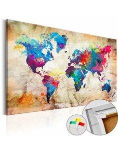 Tableau en liège WORLD MAP: URBAN STYLE - par Artgeist