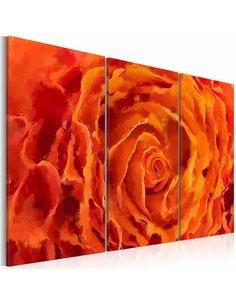 Tableau ROSE EN ORANGE Triptyque - par Artgeist