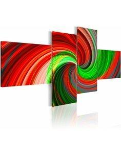 Tableau - 4 tableaux - Spirale en vert et rouge - par Artgeist