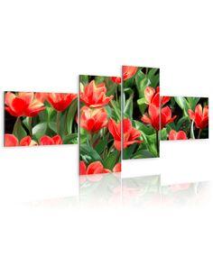 Tableau - 4 tableaux - Tulipes rouges dans la prairie - par Artgeist