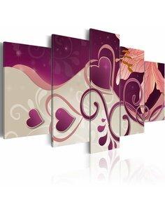 Tableau - 5 tableaux - Coeurs et lys Fleurs et plantes Artgeist