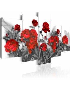 Tableau - 5 tableaux - Rouge vif - par Artgeist