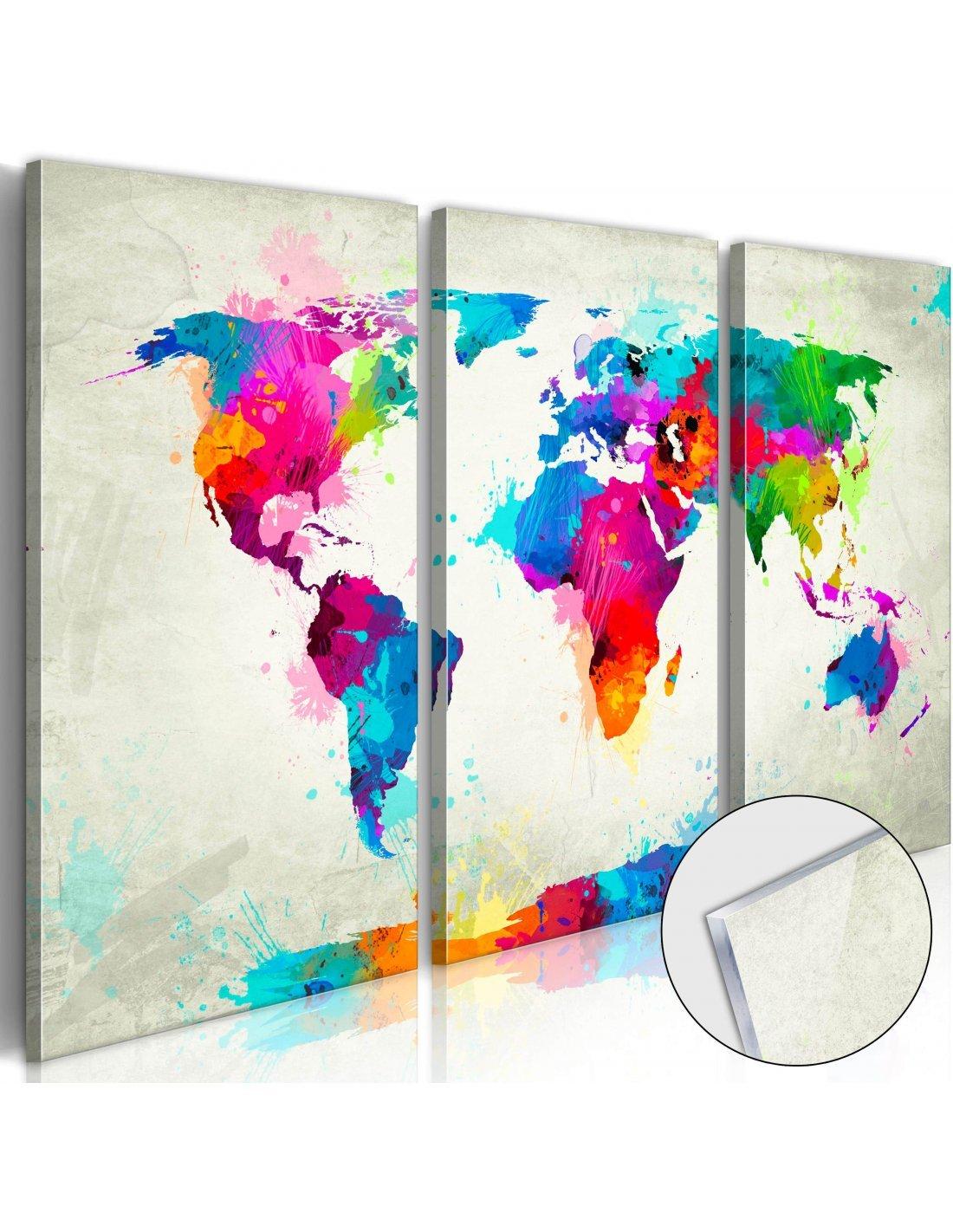 Tableau Sur Verre World Map An Artgeist Multicolore