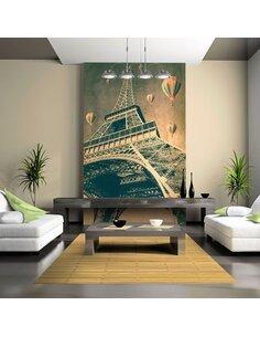 Papier peint TOUR DE MONTGOLFIÈRE AU-DESSUS DE PARIS - par Artgeist