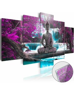 Tableau sur verre acrylique WATERFALL AND BUDDHA [GLASS] - par Artgeist