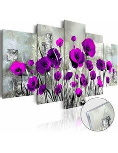 Tableau sur verre acrylique MEADOW: PURPLE POPPIES [GLASS] - par Artgeist