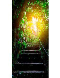 Papier-peint pour porte Photo wallpaper Stairs in the urban jungle I  Papier-peints pour porte Artgeist