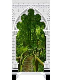 Papier-peint pour porte Photo wallpaper Gothic arch and jungle I  Papier-peints pour porte Artgeist