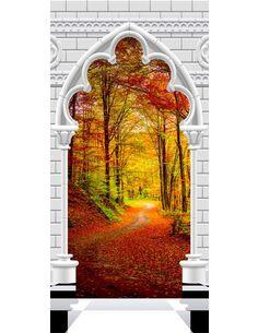 Papier-peint pour porte Photo wallpaper Gothic Arch and forest in atumn I  Papier-peints pour porte Artgeist