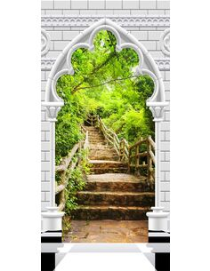 Papier-peint pour porte Photo wallpaper Gothic arch and stone staircase I  Papier-peints pour porte Artgeist