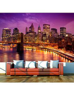 Papier peint Manhattan et Pont de Blooklyn la nuit  New York Artgeist