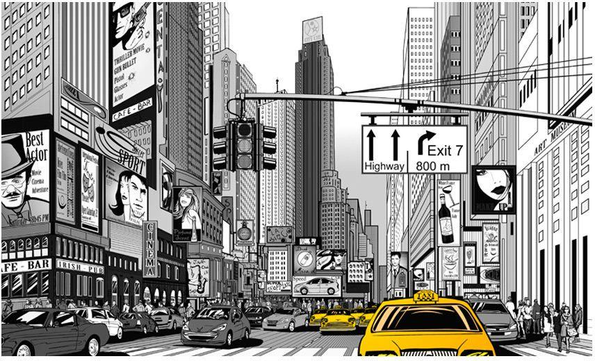 noir//jaune New york//taxi jaune papier peint abat-jour... fait à la main.