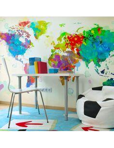 Papier peint PAINT SPLASHES MAP OF THE WORLD - par Artgeist