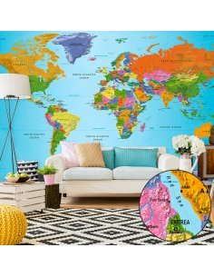 Papier peint grand format WORLD MAP: COLOURFUL GEOGRAPHY II - par Artgeist