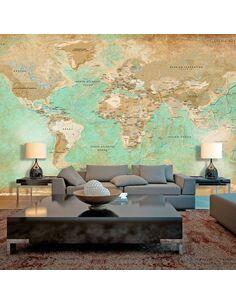 Papier peint grand format TURQUOISE WORLD MAP II - par Artgeist
