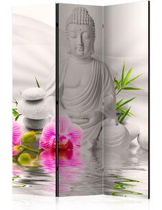 Paravent 3 volets BUDDHA AND ORCHIDS - par Artgeist