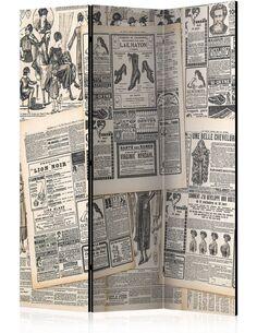 Paravent 3 volets VINTAGE NEWSPAPERS - par Artgeist