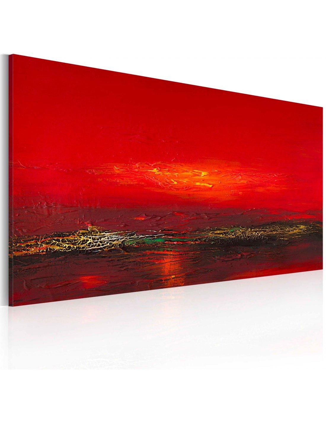 Peinture Sur Toile Coucher De Soleil Sur La Mer Artgeist Rouge