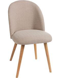 Chaise vincent textile/bois beige Chaises de cuisine et salle à manger J-Line