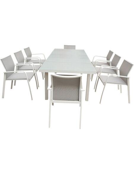 Table de jardin extensible nice aluminium delorm - Table jardin aluminium extensible ...