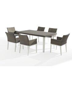 X6 fauteuils + table de jardin ORLANDO aluminium et résine tressée  - par Delorm