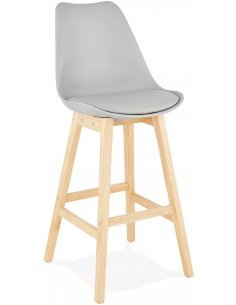 Tabouret de bar design Simili cuir Gris APRIL Chaises de bar Kokoon Design