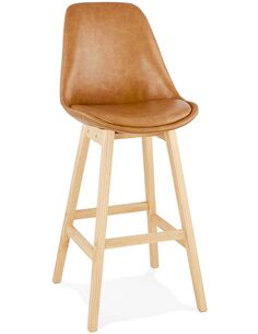 Tabouret de bar design Simili cuir Marron JANIE Chaises de bar Kokoon Design