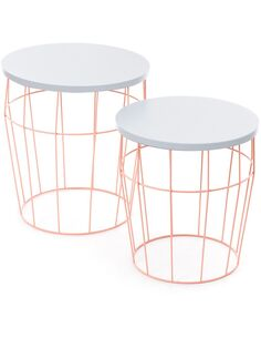 x2 Tables TOWERBLOCK Rose Blanc - par Arte Espina