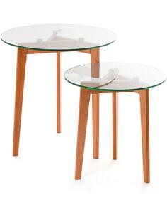 x2 Tables BOIS VERRE Table SALON CÔTÉ - par Arte Espina