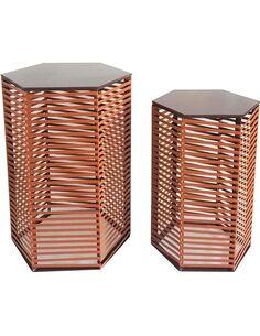 2x Tables d'appoint KIBA 410 Marron - par Arte Espina