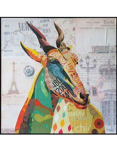 Tableau peint Patchwork GAZELLE  - par Arte Espina