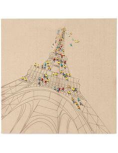 Tableau peint huile VOYAGE À PARIS  - par Arte Espina