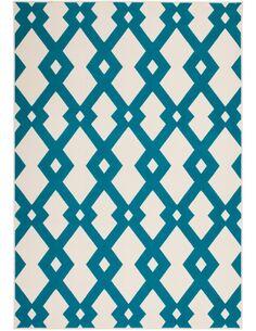 Tapis tissé 100 IVORY Turquoise - par Arte Espina