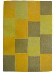 Tapis fait à la main 110 LYRICAL Multicolore Jaune - par Arte Espina