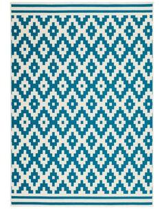 Tapis tissé 300 Ivoire Turquoise - par Arte Espina