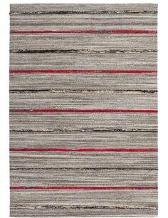 Tapis fait à la main DUARTE 110 Natural Rouge - par Arte Espina