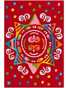 Tapis tissé SPIRIT GLOWY 3145 Rouge MANDALA - par Arte Espina