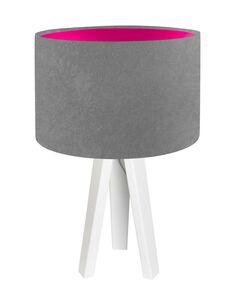 Lampe De Chevet KIDS Velours Gris avec Intérieur Rose - par BPS Koncept