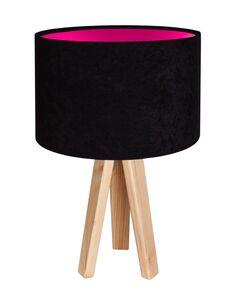 Lampe De Chevet KIDS Velour Noir avec Intérieur Rose - par BPS Koncept