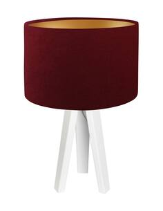 Lampe De Chevet GLAMOUR Velour Rouge Foncé avec Intérieur Doré - par BPS Koncept